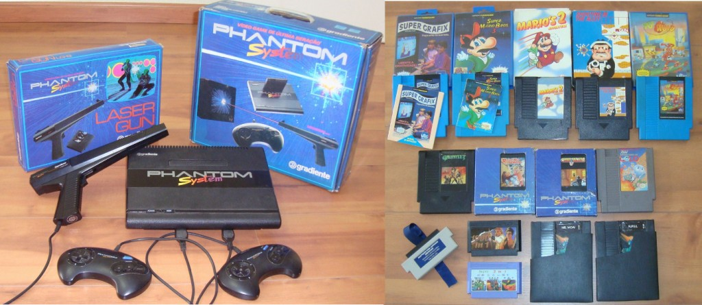 Vídeo Game Phantom System: console, controles, pistola e cartuchos. Jogos: super grafix, Super Mario Bros. 3, Marios's 2, Shooting in the Alley, Yo! Noid, Gauntlet, Rolling Thunder, Crime Busters, Adventures of Lolo, Mr. Moai, Flipull.