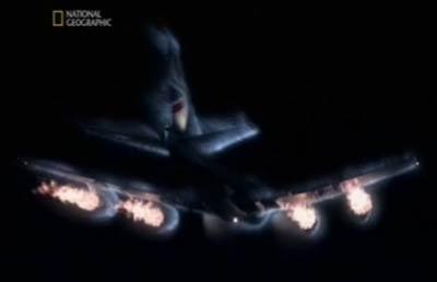 voo 9 da British Airways brilhando devido à colisão de cinzas vulcânicas