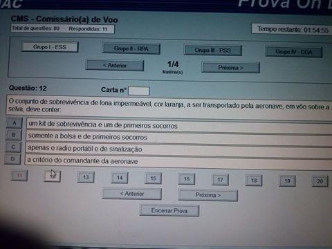 """Exemplo de tela com prova da ANAC (imagem retirada do """"Grupo de estudos ANAC"""" no facebook)."""