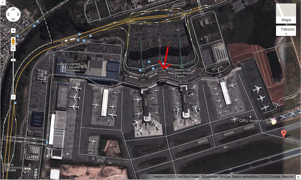 Vista aérea do aeroporto de Guarulhos e indicação do local de visita