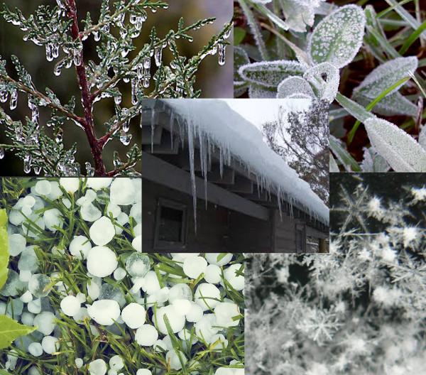 Formação de gelo (em sentido horário): glaze, geada, cristais de neve e granizo. Ao centro, icicles.