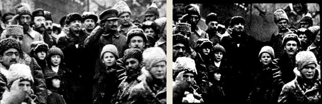 Foto manipulada a mando de Stalin, em que Trotsky foi apagado