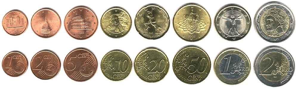 Moedas de Euro (anverso, comum a todos, e reverso, único de cada país) da Itália. O Euro é a moeda oficial de parte dos países da União Européia, que começaram a abrir mão de suas moedas nacionais em 1999 (como moeda escritural) e 2002 (em forma física).