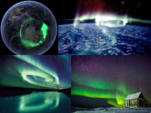 Aurora vista do espaço (fotos superiores) e do solo.