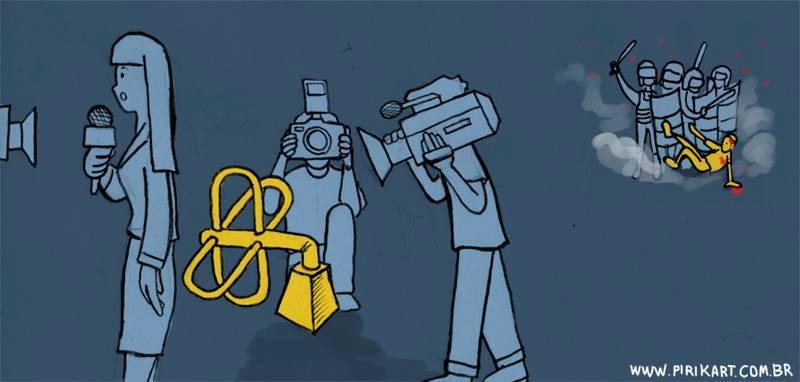Sátira sobre o que a impresa mostra e o que acontece. Fonte: site Iconoclastia http://iconoclastia.org/2013/06/13/manifestacoes-a-grande-midia-contra-as-redes-sociais/