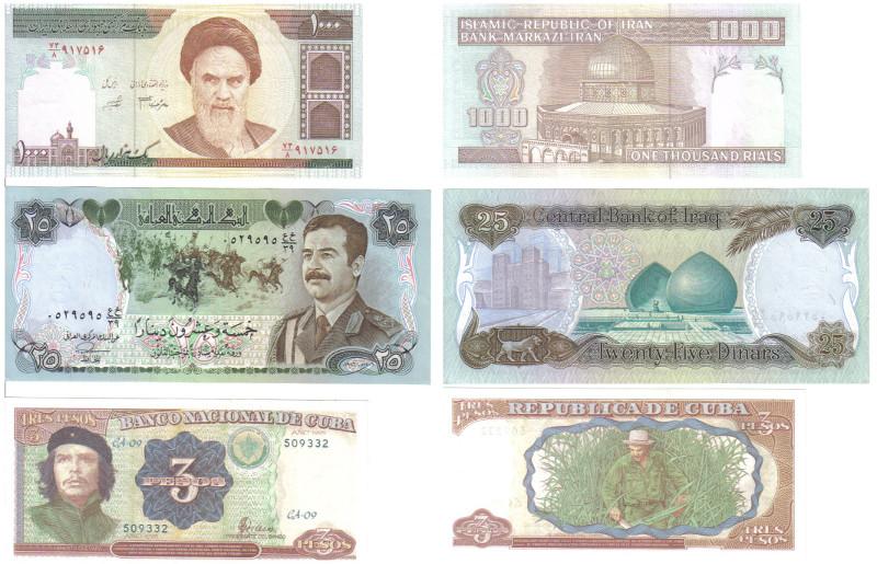 Cédulas (frente e verso) de Irã (efígie do Aiatolá Khomeini e Cúpula da Rocha), Iraque (Saddam Hussein, cavalos árabes, portal de cidade mesopotâmica da Babilônia) e Cuba (Che Guevara e Fidel Castro em plantação de cana).