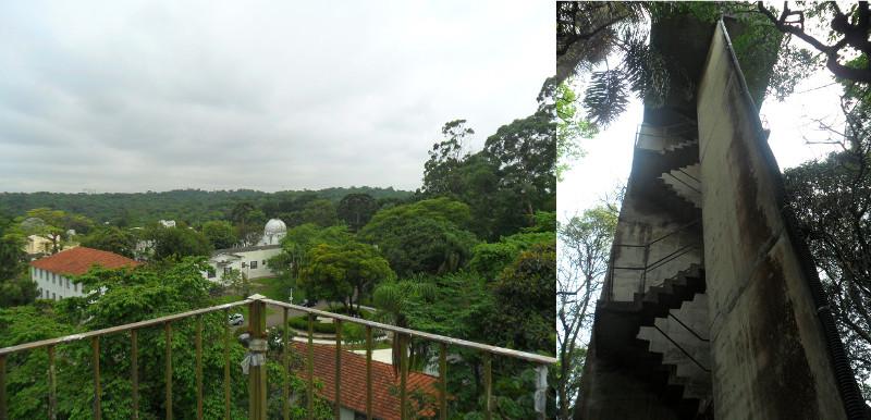 Parque de Ciência e Tecnologia (Cientec/USP): espaço de divulgação científica e área de preservação ambiental. Prédios históricos da década de 1930 podem ser observados do alto da caixa d'água.