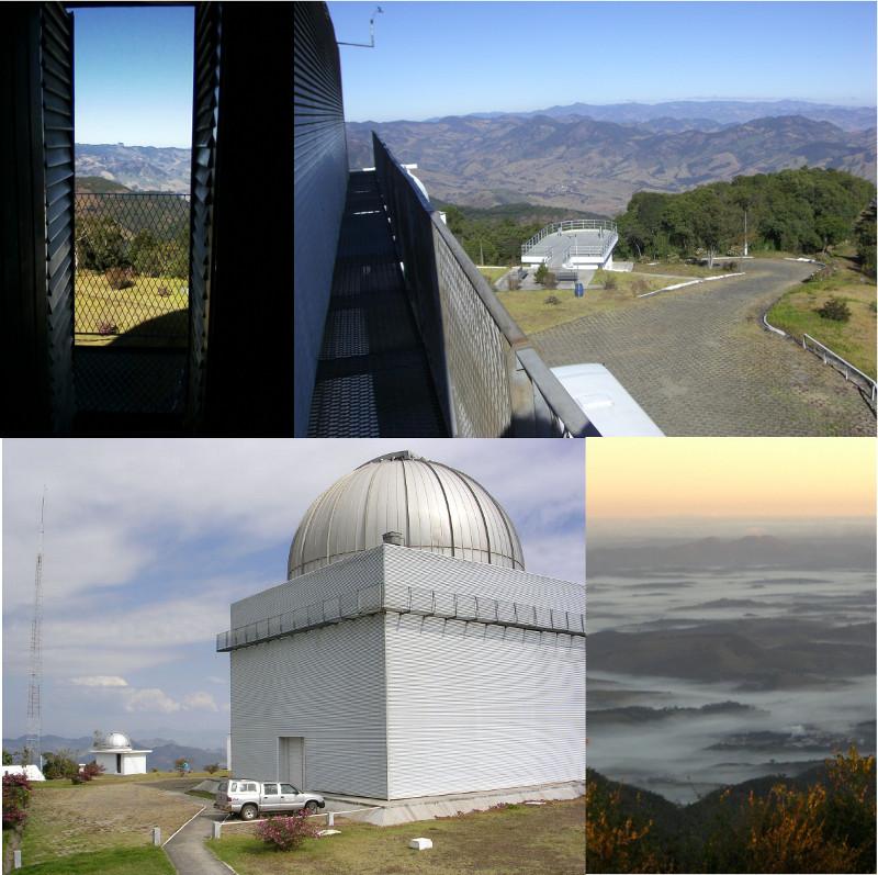 Observatório Pico dos Dias e vista do telescópio principal.