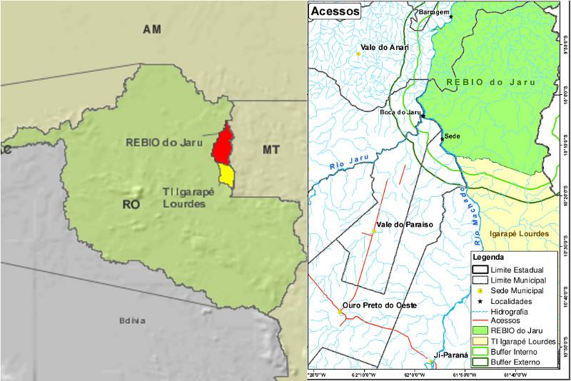 Mapa de Rondônia com a localização da Reserva Biológica do Jaru à esquerda e mapa da Reserva à direita (fonte: site do IBAMA) http://www.ibama.gov.br/phocadownload/prevfogo/plano_operativo_reserva_biolgica_do_jaru.pdf
