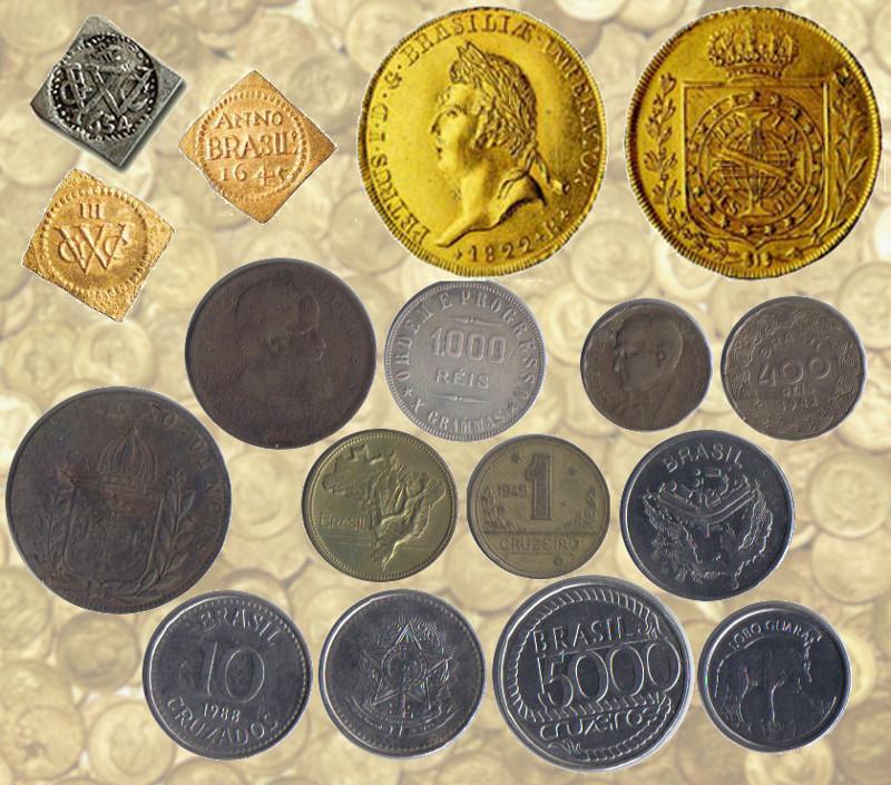 Moedas do Brasil: soldo e florins (dourados), peça da coroação (em ouro, moeda mais valiosa e 1ª do Brasil independente), moedas de cobre do tempo do império (busto de D. Pedro II e brasão de armas), moeda de prata (lema Ordem e Progresso e peso), 400 réis (Getúlio Vargas, em níquel rosa), 2 cruzeiros e 1 cruzeiro em bronze-alumínio (mapa do Brasil), 50 cruzeiros em aço inoxidável (mapa de Brasília), 10 cruzados (frente e verso), 5000 cruzeiros (Tiradentes) e 100 cruzeiros reais (lobo guará).