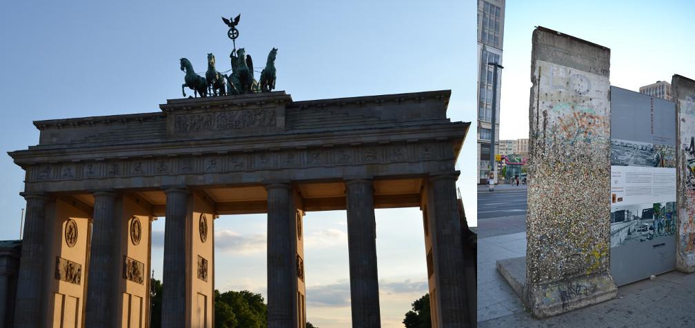 Portão de Brandemburgo (esquerda) e trecho do muro de Berlim (direita).