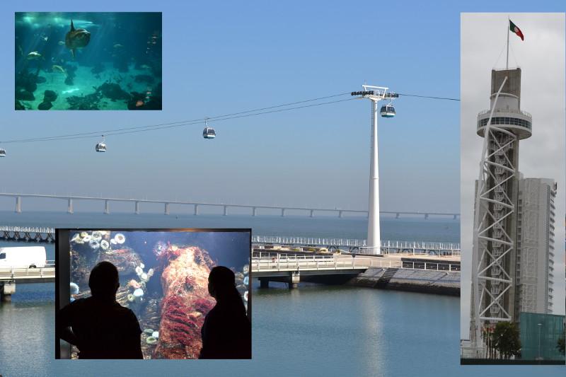 Vista do rio Tejo e teleférico (em destaque, Torre Vasco da Gama e imagens do Oceanário).