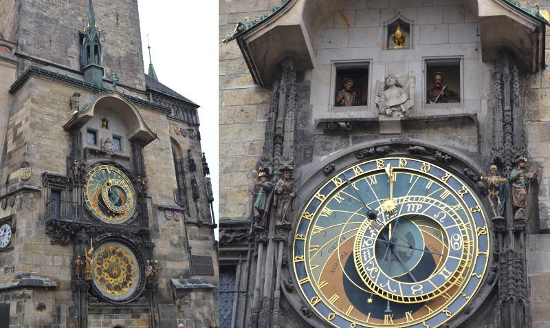 """Orloj (Praga): relógio astronômico medieval composto do mostrador astronômico (representando a posição do Sol e da Lua no céu, além de mostrar vários detalhes celestes), a """"Caminhada dos Apóstolos"""" (show mecânico representado a cada troca de hora com as figuras dos apóstolos e outras esculturas com movimento) e um mostrador-calendário com medalhões representando os meses."""