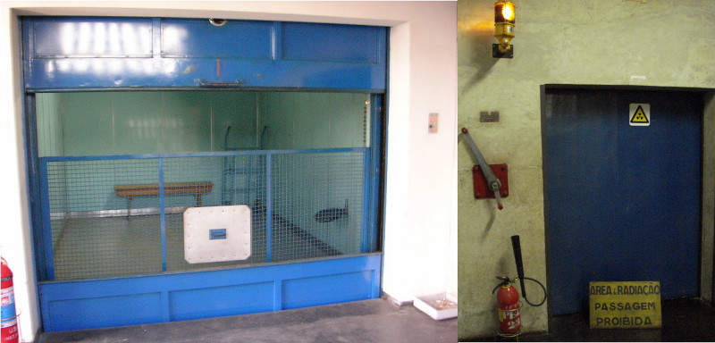 Elevador industrial e porta com 1 metro de espessura, a prova de radiação.