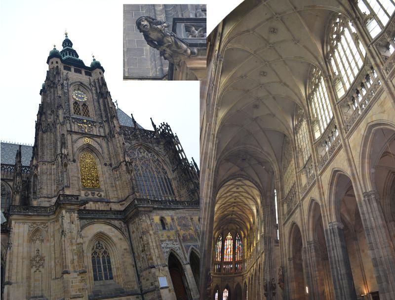 Catedral de São Vito (Praga): construção em estilo gótico iniciada em 1344 e finalizou-se, depois de uma interrupção das obras no século XV, só em 1929. Destaca-se a grande Capela de São Venceslau do século XIV, compreendendo mais de 1.000 pedras semi-preciosas.