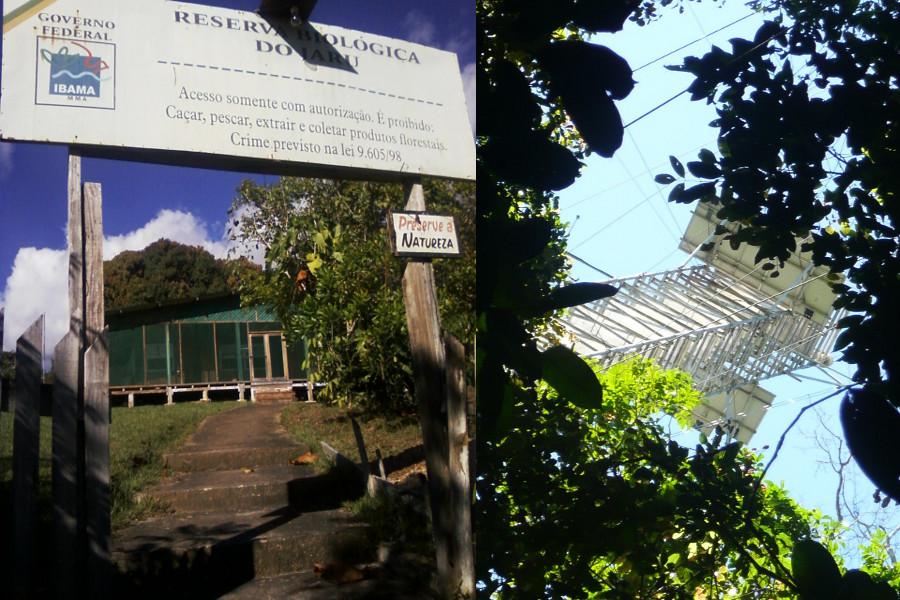Entrada da sede da Rebio Jaru e torre micrometeorológica.