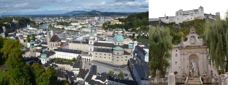 Fortaleza de Hohensalzburg, sobre uma colina que domina o centro antigo é um dos maiores castelos da Europa.
