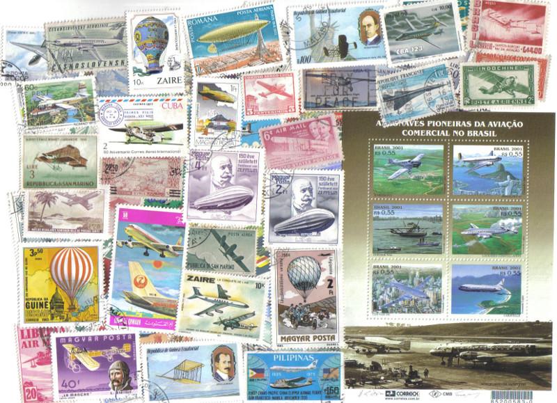 Foto Selos sobre aviação de diferentes países (ilustram diferentes modelos de aviões e balões). Agradecimento especial ao Snell(www.sitecanal8.com) pela maioria dos selos.