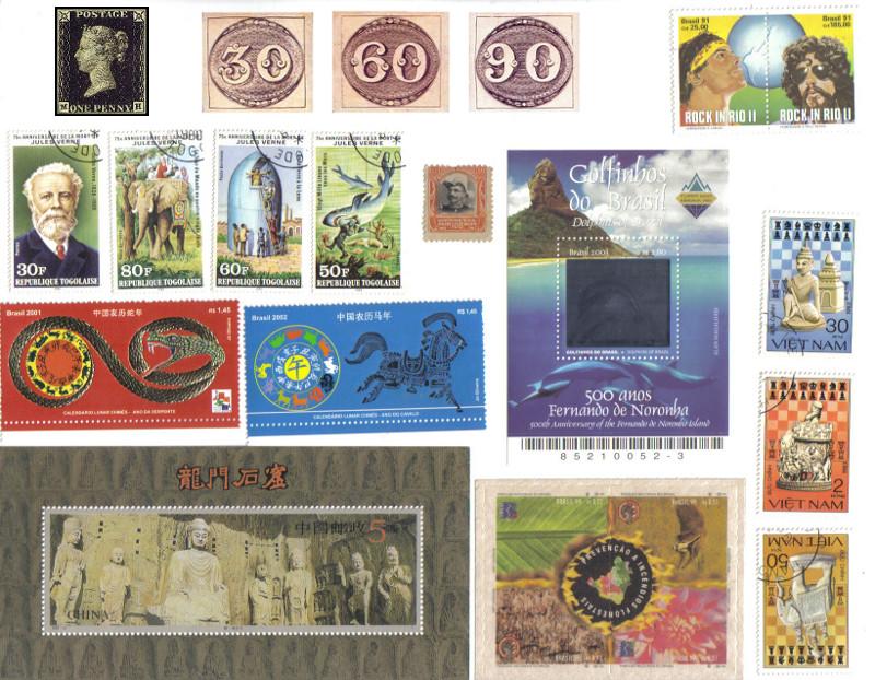 Penny black, Olho de boi e exemplares curiosos da minha coleção de selos: bloco postal com holograma (o de Fernando de Noronha), com relevo e brilho (os com tema da China), com cheiro de queimado (sobre a prevenção a aincêndios florestais), sobre personalidades (Rock in Rio), uma série do Vietnã sobre xadrez e outra do Togo sobre Júlio Verne.