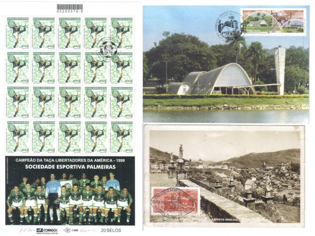 Folha de selos comemorativa da S.E. Palmeiras e exemplos de máximos postais, que se caracterizam pela união de um cartão-postal, um selo postal e um carimbo filatélico, todos os elementos com a mesma temática.
