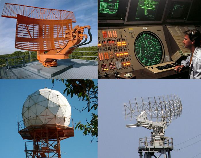 Foto de antenas de radar (em sentido horário): radar de solo para controle de tráfego aéreo e sala de operações, radar AN/SPS-49 (a bordo de navio militar classe Iowa) e domo protegendo radar meteorológico de Salesópolis (SP).
