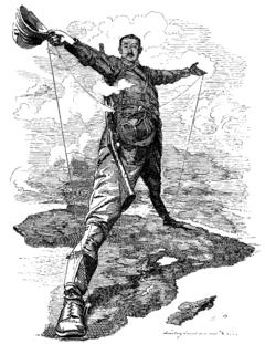Caricatura de Cecil Rhodes, fundador da De Beers, uma das primeiras companhias de diamantes, e dono da Companhia Sul-africana, ilustrando o projeto da ferrovia do Cairo à Cidade do Cabo.
