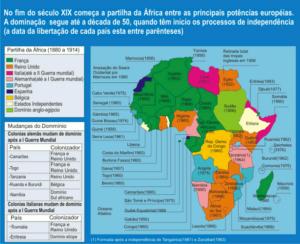 Pelo mapa, observa-se os países que foram colônias portuguesas e ainda falam português na África: Moçambique, Angola, Guiné-Bissau, Cabo Verde, São Tomé e Príncipe e Guiné Equatorial (Brasil, Portugal, Timor Leste e Macau completam a lista de países onde o português é o idioma oficial).