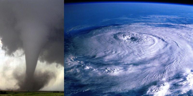 Tornado (esquerda) e furacão (direita).