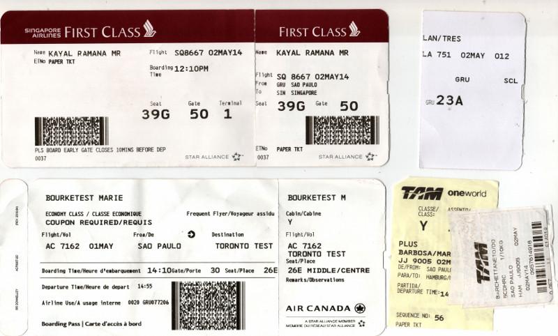 Bilhetes de teste emitidos: Singapore Airlines, TAM, Air Canada e LAN.