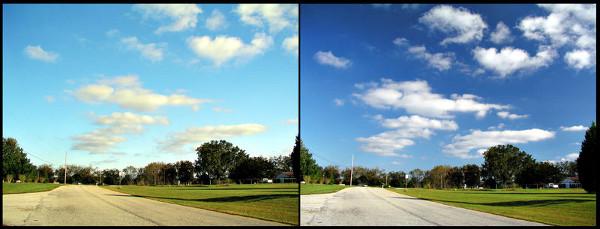 Os efeitos do polarizador no céu em uma fotografia colorida. A figura da direita foi feita com o auxílio de um filtro polarizador, enquanto a foto da esquerda não contou com o aparato. (PiccoloNamek)