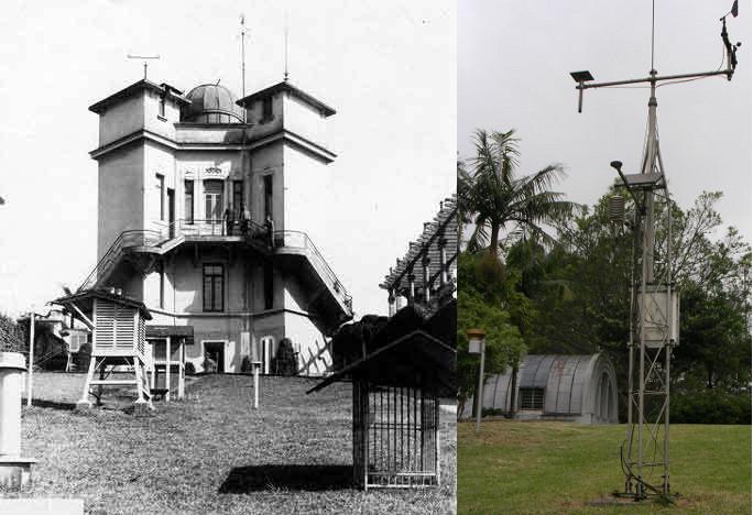 Estação Meteorológica do Antigo Observatório de São Paulo na Avenida Paulista, onde hoje fica o MASP (fonte: IAG-USP) e Estação automática do Parque Cientec (foto: ViniRoger)