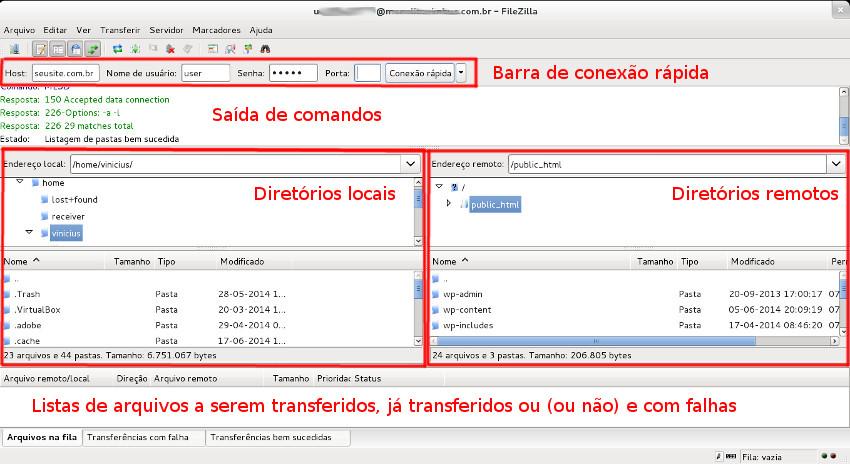 Tela do programa de transferência FTP FileZilla.