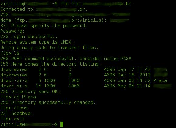 Tela com exemplo de uso do ftp em terminal Linux.