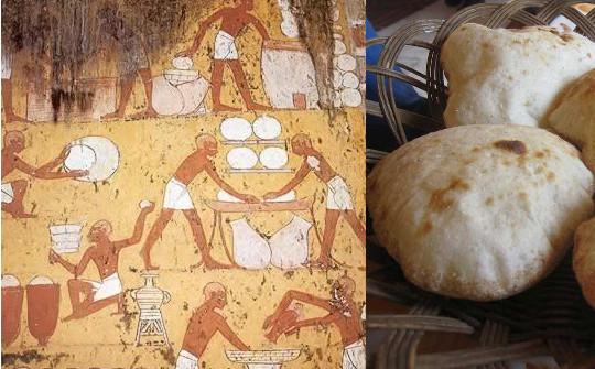 Pintura egípcia de como fazer o pão.