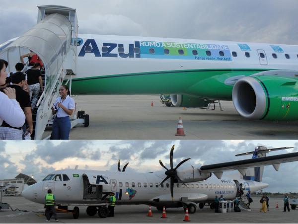 Avião Embraer (acima, com pintura celebrando uso de biocombustível) e ATR (empenagem com pintura da TRIP) da Azul. Fotos: ViniRoger.