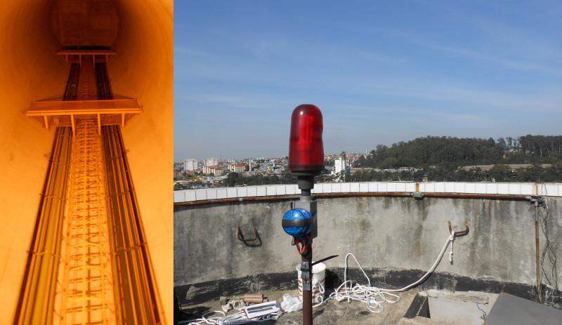 Interior da caixa d'água (com escada marinheiro e vista do topo (sinalizador de topo com fotocélula cor rubi e fábrica de vidros ao fundo).