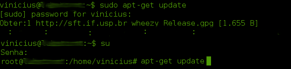 """Exemplos de uso do terminal Linux: usuário comum executando comando como """"sudo"""" (parte superior) e mudando para super usuário """"root"""" (parte inferior) para executar o comando """"apt-get update""""."""