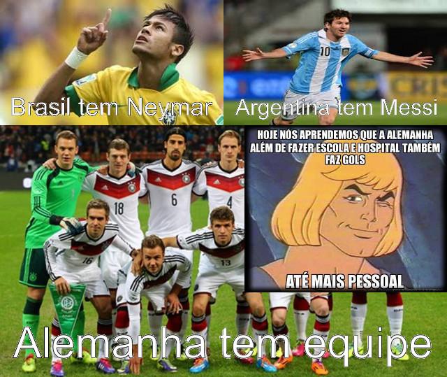 Charge da Alemanha e Brasil, após a derrota brasileira de 7 a 1 e eliminação na Copa do Mundo de 2014 no Brasil.