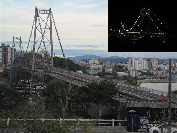 Ponte Hercílio Luz (em detalhe, a mesma ponte com iluminação noturna). Foto: ViniRoger.