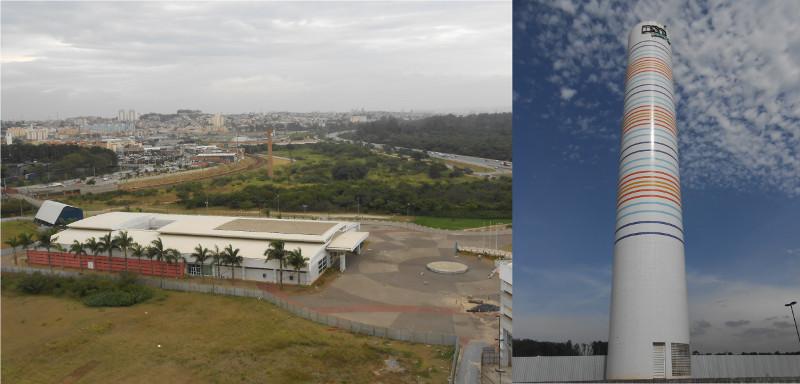 Foto da vista dos trilhos da CPTM a partir da caixa d'água (direita).