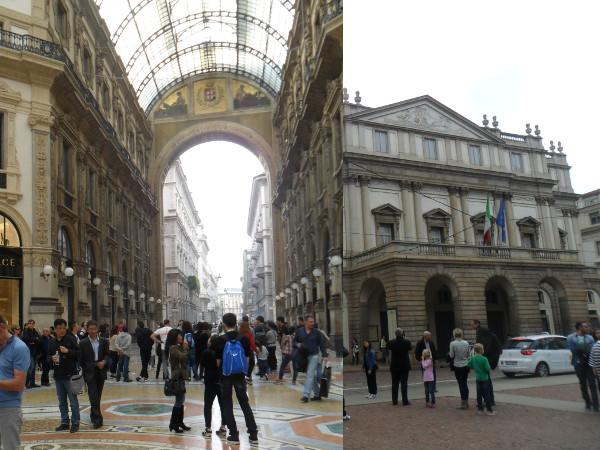 Galleria Vittorio Emanuele (esq.) e Teatro alla Scala. Foto: ViniRoger.