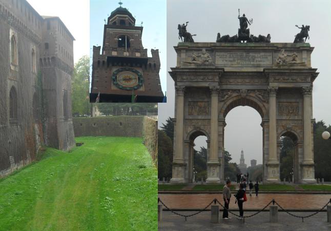 Parque Sempione: Castello Sforzesco (torre com relógio no detalhe) e Arco da Paz. Foto: ViniRoger.