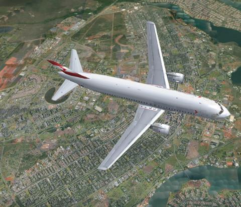 Avião sobre Brasília, projetada em formato de avião.