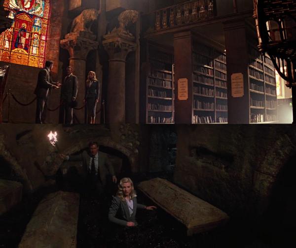 """Cenas do filme """"Indiana Jones e a ùltima Cruzada"""" no interior da biblioteca (com vitral) e das catacumbas: não existem em Veneza."""