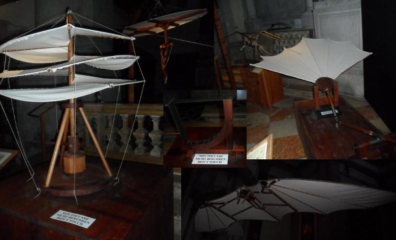 Inventos ligados a aviação da exposição de Leonardo da Vinci (Igreja de San Barnaba, Veneza). Fotos: ViniRoger.