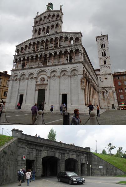 Igreja de San Michele e um dos portões de entrada do centro murado de Lucca (vista por dentro, Via Giovanni Pascoli). Fotos: ViniRoger.