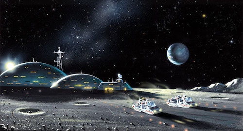 """A fall of moondust"" by David A. Hardy. Fonte: Astroart."