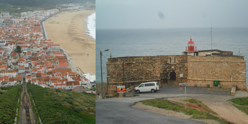 Praia e cidade de Nazaré vistas do alto do penhasco (trilhos do funicular abaixo), e Forte de São Miguel Arcanjo com farol. Fotos: ViniRoger.