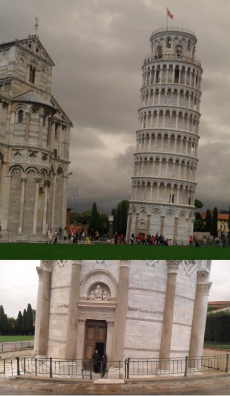 Torre inclinada de Pisa (abaixo, detalhe da base). Foto: ViniRoger.