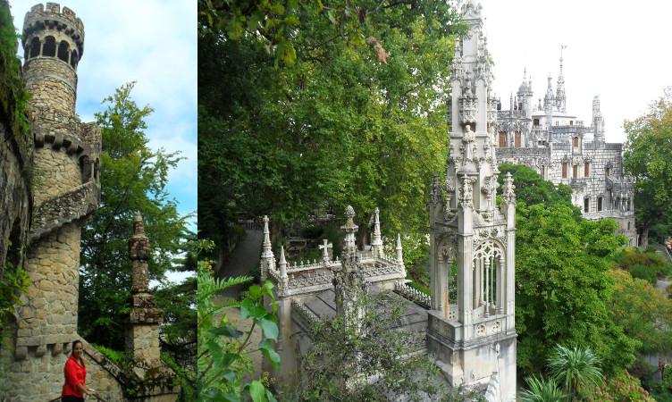 Torre da Regaleira (esq.) e Palácio da Regaleira. Fotos: ViniRoger.